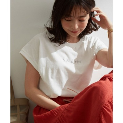 ビザビ vis‐`a‐vis 【vis‐`a‐vis】フレンチスリーブロゴTシャツ (ホワイト)