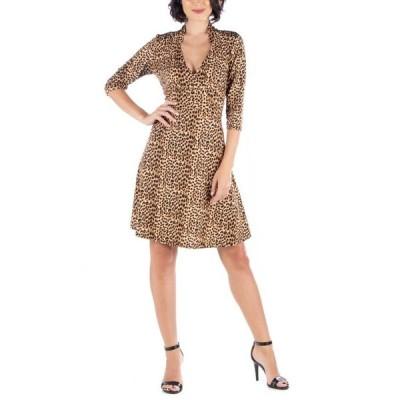 24セブンコンフォート レディース ワンピース トップス Women's Leopard Print V-Neck A-Line Dress