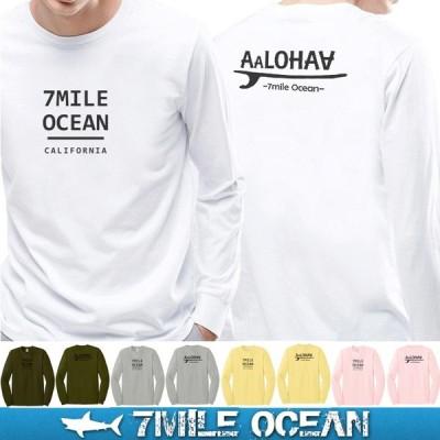 メール便 送料無料 7MILE OCEAN メンズ ロンT 長袖 ロング tシャツ アメカジ アウトドア ストリート プリント ロゴT 人気 ブランド 大き目 ビックサイズ