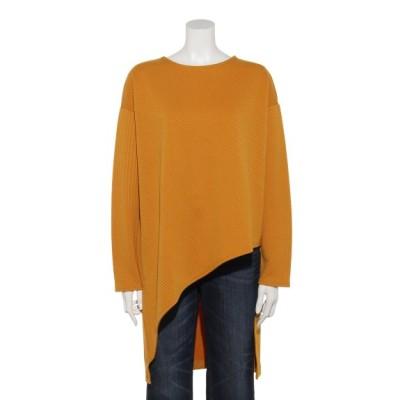 OSMOSIS (オズモーシス) レディース ランダムジャガードアシンメトリーTシャツ YELLOW ONE