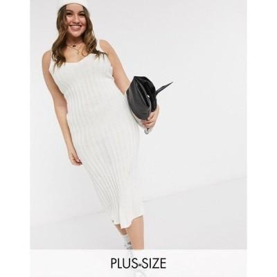 イン ザ スタイル プラス レディース ワンピース トップス In The Style Plus x Shaughna ribbed midi dress in cream Cream