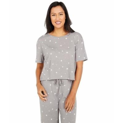 オルタナティヴ シャツ トップス レディース Flowy Relaxed Cropped T-Shirt Grey Dreamy Stars