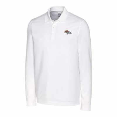 """メンズ ポロシャツ """"Denver Broncos"""" Cutter & Buck Advantage Long Sleeve Polo - White"""