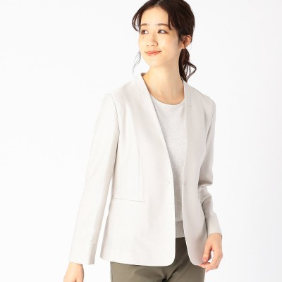 コムサイズム COMME CA ISM ノーカラー ジャージージャケット <日本素材 ウォッシャブル 吸水速乾 ストレッチ> (グレー)