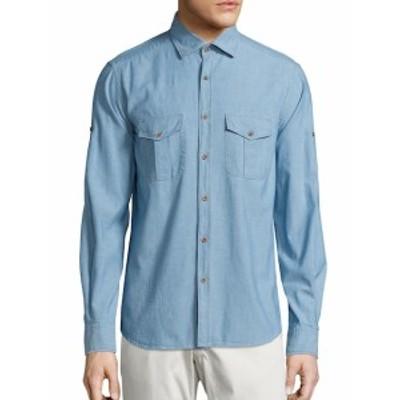 サックスフィフスアベニュー メンズ カジュアル ボタンダウンシャツ COLLECTION Chambray Cotton Shirt