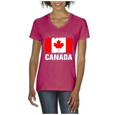 レディース 衣類 トップス Womens Canada Flag Canadian V-Neck T-Shirt Tシャツ