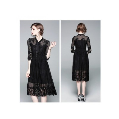 透け感レース リボン パーティードレス 刺繍 ブラック エレガント 上品 袖あり 結婚式 二次会 お呼ばれドレス kh-0048