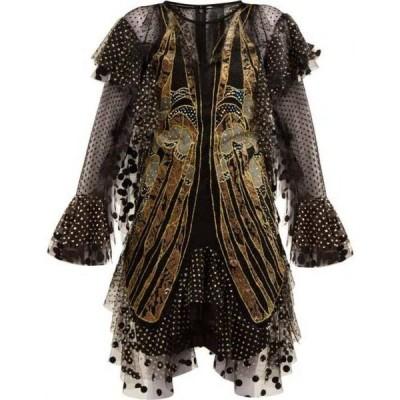 ロマンス ワズ ボーン Romance Was Born レディース パーティードレス ワンピース・ドレス Exoskeleton embroidered-tulle dress Black