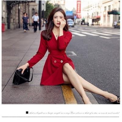 Vネック コート風 ワンピース 長袖 ショート丈 ドレス 2色