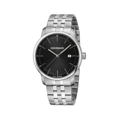 腕時計 ウェンガー Wenger 01.1741.122 Men's Urban Classic Black Dial Date Watch