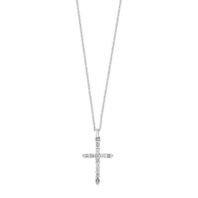 エフィー レディース ネックレス・チョーカー・ペンダントトップ アクセサリー 14K White Gold Diamond Cross Pendant Necklace - 0.25 ctw WHITE
