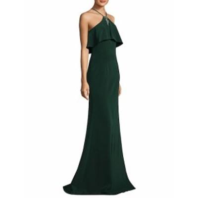 テイア レディース ワンピース Floor-Length Halter Popover Crepe Gown