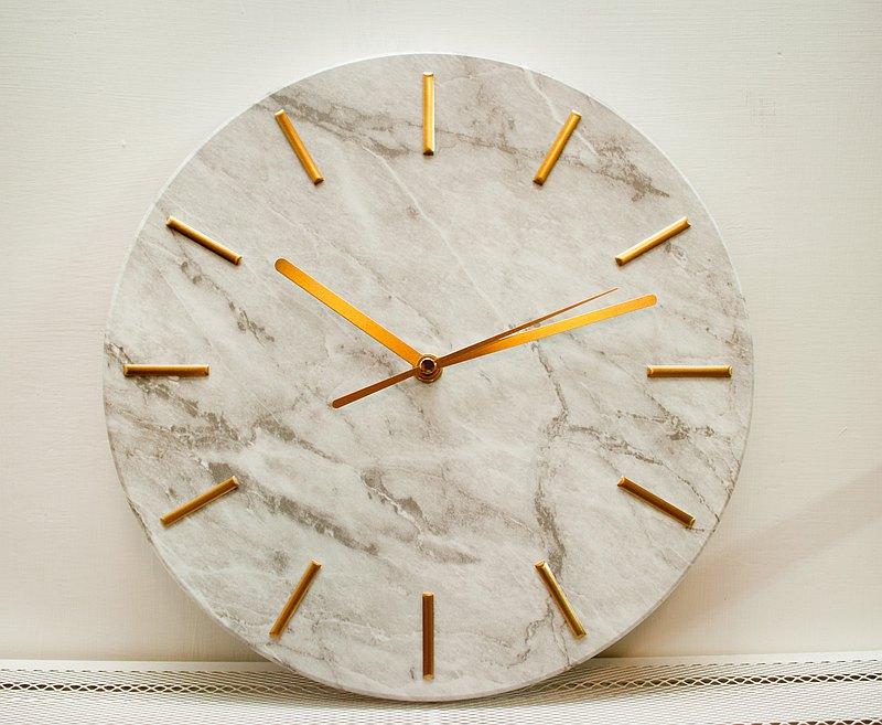WECANHOUSE大理石紋時鐘-靜音機芯-掛鐘/立鐘擺設 簡約風格