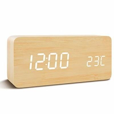 Qansi 目覚まし時計 大音量 LEDデジタル時計 木目調 おしゃれ 置き時計 カレンダー付き 卓上 アラーム 温度表示 明るさ調節 音声感知 USB