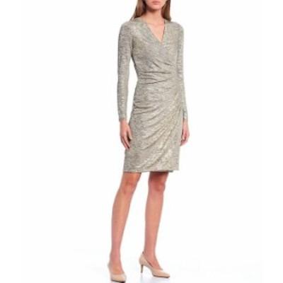 カルバンクライン レディース ワンピース トップス Metallic Long Sleeve Ruched Waist Mock Wrap Sheath Dress Old Gold