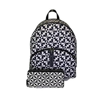 Kate Spade New York Karissa Nylon Large Backpack bundled with matching Large Continental Wallet (Black/White Spade Clover Geo)