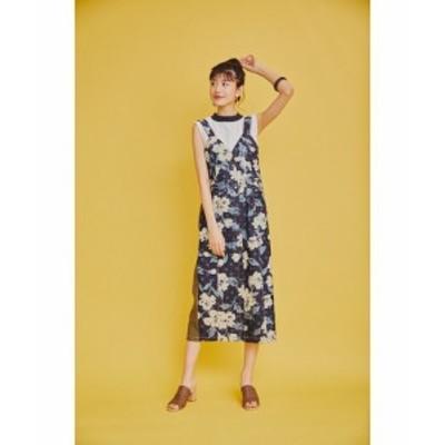 ドットフラワー柄デニム 配色ジャンパースカート(オリジナルプリント) || レディースアパレル ワンピース ドレス