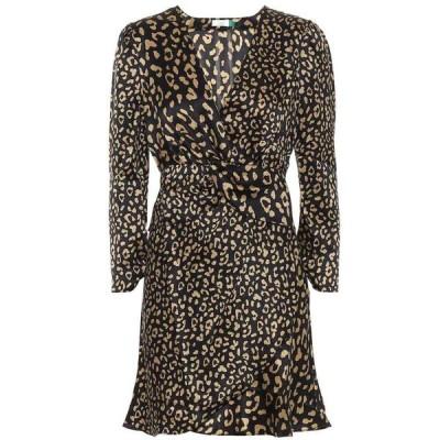 リキソ Rixo レディース ワンピース ワンピース・ドレス Leopard-print silk minidress Black Gold