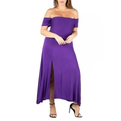 24セブンコンフォート ワンピース トップス レディース Women's Plus Size Off Shoulder Dress Purple
