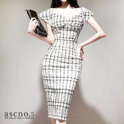 ワンピース ワンピ ドレス  きれいめ タイト ミディアム チェック ホワイト 韓国 韓国ファッション 30代 40代 デート おめかし 女子会 ディナー フォーマル