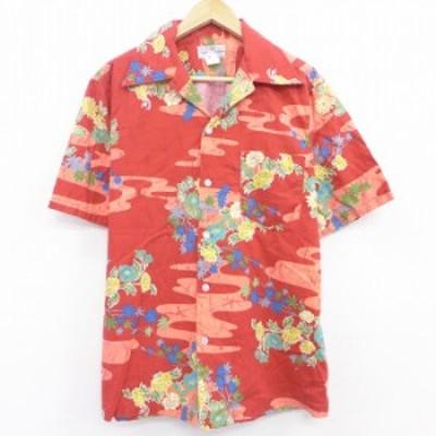 古着 半袖 ハワイアン シャツ 90年代 90s 花 開襟 オープンカラー ハワイ製 エンジ Lサイズ 中古 メンズ アロハ トップス シャツ トップ