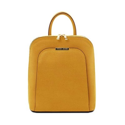 Tuscany Leather TLBag Saffiano Leather Backpack for Women Mustard 並行輸入品