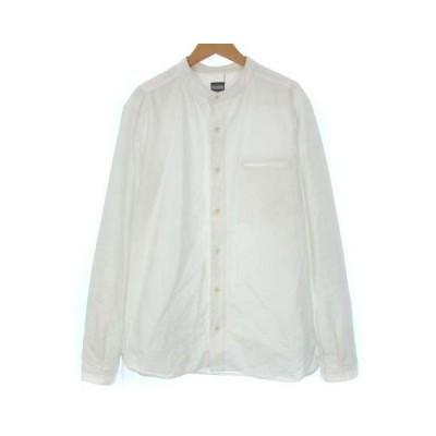 【中古】桃太郎ジーンズ MOMOTARO JEANS シャツ バンドカラー ノーカラー オックスフォード 長袖 ホワイト 白 40 Lサイズ相当 メンズ 【ベクトル 古着】