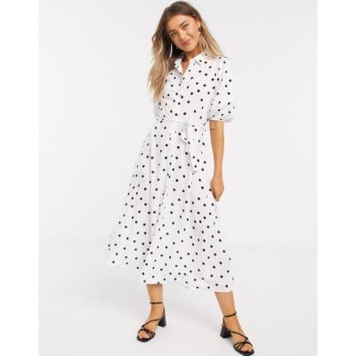 ニュールック ミディドレス レディース New Look puff sleeve midi shirt dress in white polka dot エイソス ASOS ホワイト 白