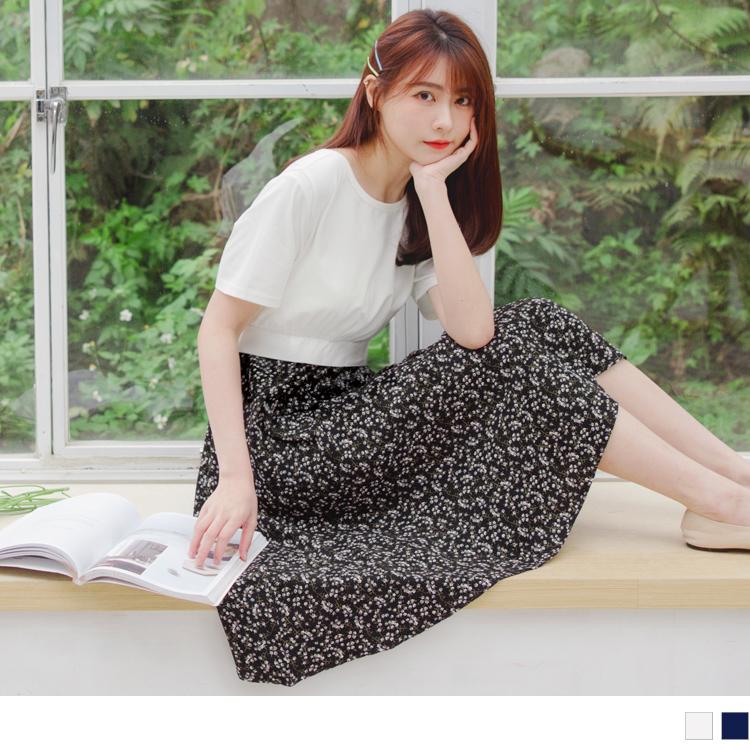 含棉短袖拼接印花裙襬收腰洋裝
