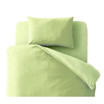 布団カバーセット 洋式3点(枕カバー+掛けカバー+ボックスシーツ) シングルサイズ 色-無地グリーン /洗濯可