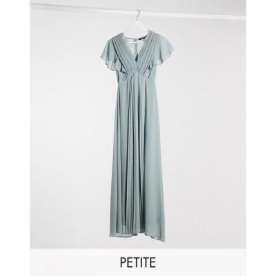 ティーエフエヌシー ミディドレス レディース TFNC Petite bridesmaid lace detail maxi dress with flutter sleeve in sage エイソス ASOS