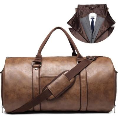 キャリーオンガーメントバッグ 旅行用 レザー衣類ダッフルバッグ コンバーチブル メンズスーツトラベルバッグ シューズコンパートメント付き 防水 ビジネ