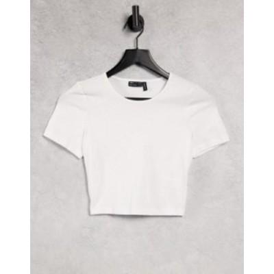 エイソス レディース シャツ トップス ASOS DESIGN fitted crop T-shirt in white White