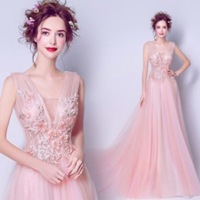Aライン 大きいサイズ レース マキシ丈 ノースリーブ 20代 30代  ピンク 透け感 シースルースクエアネック エレガント 上品 結婚式 発表