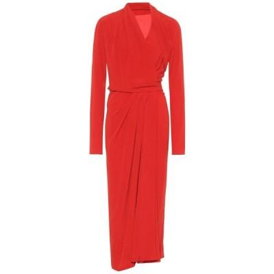 リック オウエンス Rick Owens レディース ワンピース ラップドレス ワンピース・ドレス silk-blend crepe wrap dress Cardinal Red