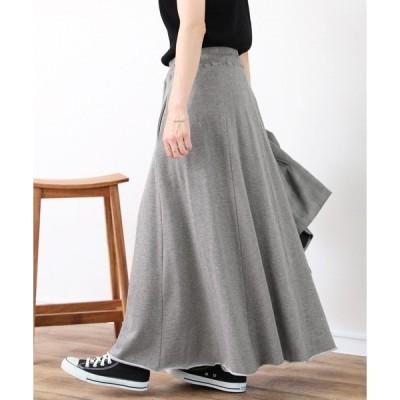 スカート 裾切りっぱなしスウェットフレアスカート