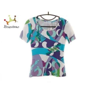 エミリオプッチ 半袖Tシャツ サイズXS レディース 美品 - 白×パープル×マルチ クルーネック 新着 20210106