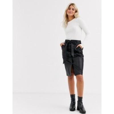 ニュールック レディース スカート ボトムス New Look midi leather look pencil skirt in black Black