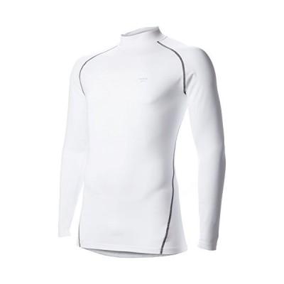 [エー・ディー・ワン] コンプレッションシャツ メンズ 発熱保温 コンプレッションウェア ヒートインナー 長袖シャツ ローネック ホワイト/グレー 日