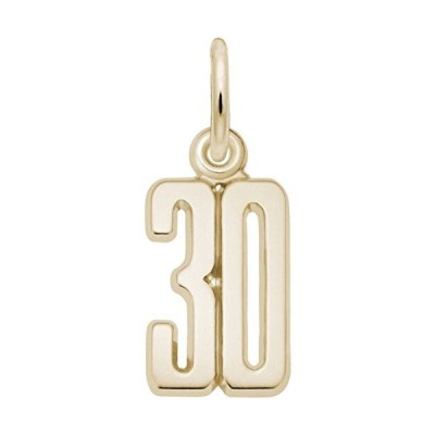 Number 30 Charm (Choose Metal) by Rembrandt| Metal| 14K Yellow Gold並行輸入品 送料
