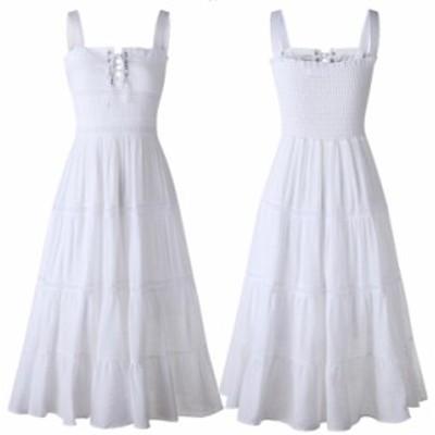 ストラップドレス ビーチスカート レディース ミディミモレドレス ワンピース 着?せ サスペンダードレス ホワイト系 甘い系 編み上