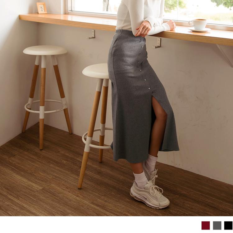高含棉腰鬆緊排釦開衩魚尾中長裙