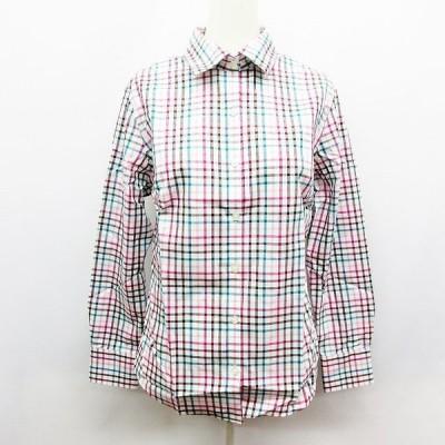 【中古】未使用品 ランズエンド LANDS' END チェック 長袖 シャツ 7 Sサイズ相当 白 ホワイト系 ●41 レディース 【ベクトル 古着】