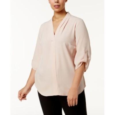 カルバンクライン レディース シャツ トップス Plus Size Pleated-Neck Blouse Blush