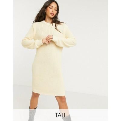 ノイズィーメイ Noisy May Tall レディース ワンピース ワンピース・ドレス Knitted Jumper Dress With Sleeve Detail In Cream クリーム