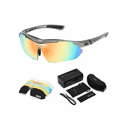 DUCO スポーツサングラス メンズ 偏光サングラス グレー スポーツ用 5枚交換レンズ付き UV400 紫外線カット 耐衝