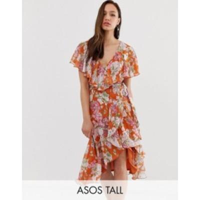 エイソス レディース ワンピース トップス ASOS DESIGN Tall midi dress with cape back and dipped hem in red based floral Red floral