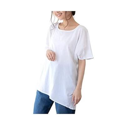 [ヴォンヴァーグ] カットソー プルオーバー 透け感 ランダムカッティング Tシャツ 後ろ長め カジュアル レディース (ホワイト 3L)