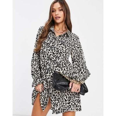 ミスガイデッド レディース ワンピース トップス Missguided shirt dress with frill cuff detail in leopard print Stone