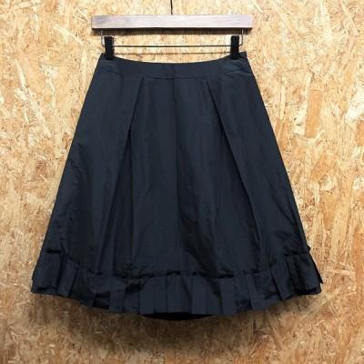 【日本製】 TO BE CHIC トゥービーシック 38 レディース 薄手 裾プリーツスカート 裏地付き ひざ丈 無地 ポリエステル100% ブラック 黒